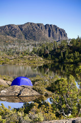 Tent in the wilderness, Tasmania, Australia