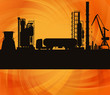 Oil refinery station and track background vector