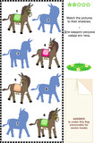 Match donkeys to their shadows picture riddle