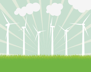 Ecology wind generator vector background landscape