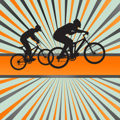 Mountain biking burst vector background