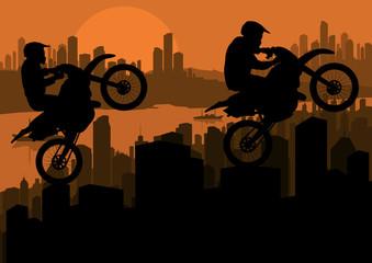 Motorbike trial sport riders in skyscraper city vector