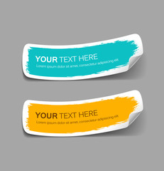 Colorful label paper brush stroke, vector illustration