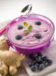 blueberry mousse with yogurt and ginger, healty food