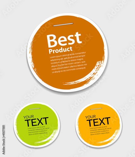 Colorful label paper circle brush stroke, vector