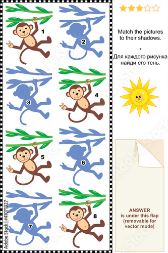 Match monkeys hanging on liana to their shadows picture riddle