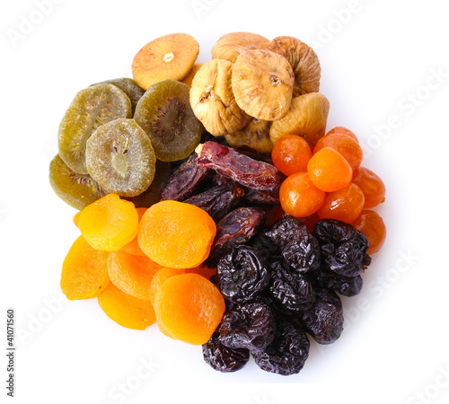 Dried fruits isolated on white