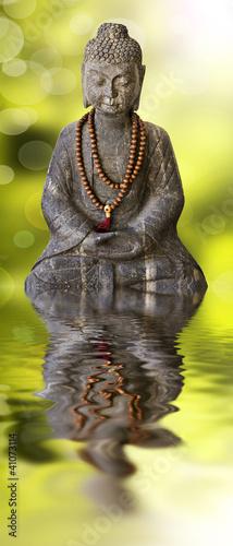 Bouddha assis, fond vert et reflets