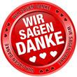 """Button Banner """"Wir sagen danke"""" rot"""