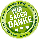 """Button Banner """"Wir sagen danke"""" grün"""