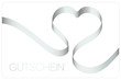 Gutschein Schleifenband Herz silber