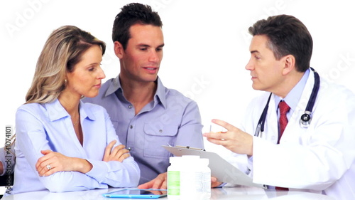 Medical doctor with patients.