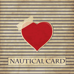 Nautical card with heart in vintage style