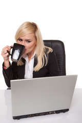 Efficient businesswoman working on her laptop