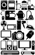 Household appliances. The black-and-white icons