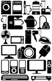 Household appliances. The black-and-white icons poster