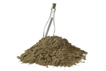 Montón de arena y botella vacía con papel enrollado dentro 2