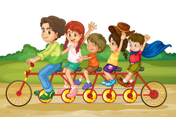 Family on tandem bike