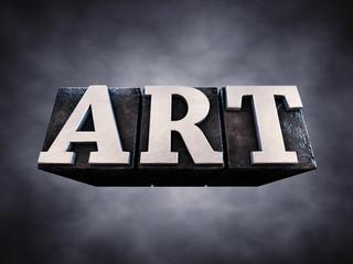 Art , letterpress typesetting on dark background