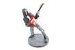 Постер, плакат: Figurine of skeleton rocker playing red electrical guitar