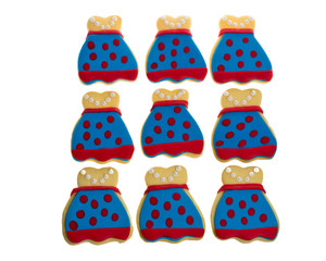 Nine decorated apron cookies