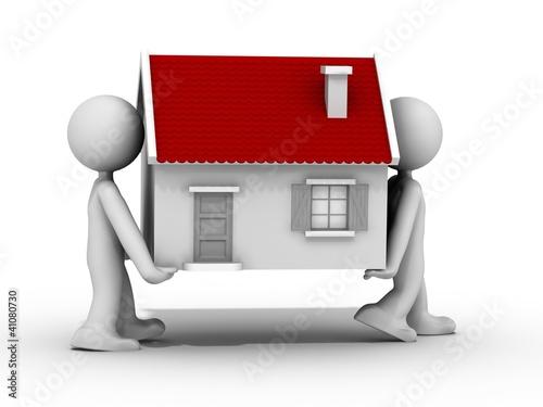 2 humains 3d transportent une maison