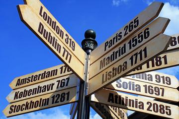 Indicador de distancia y dirección a ciudades europeas