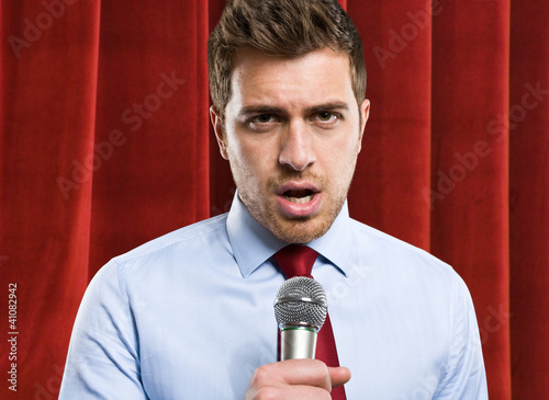 Man using a microphone