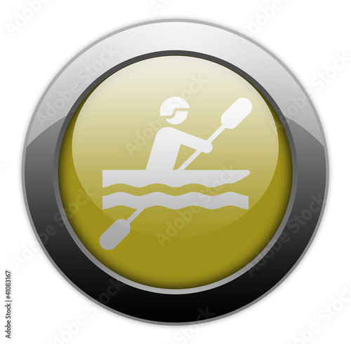 "Yellow Metallic Orb Button ""Kayaking"""