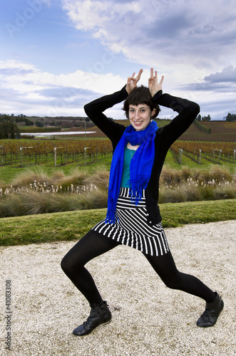 I'm a zebra. Young woman having fun