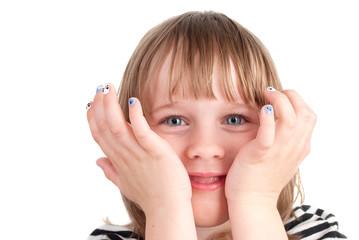 Small pretty  girl with fashion manicure portrait