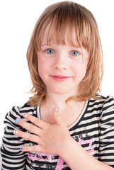 Small pretty  girl with fashion manicure portrait
