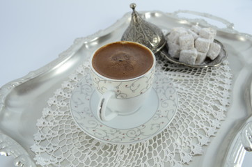 turkish coffee and turkish delight on silver tray