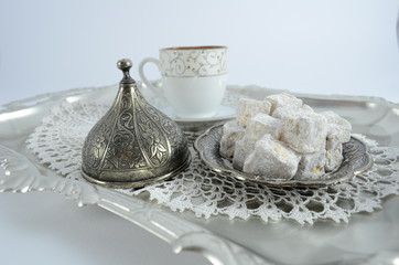 turkish delight and turkish coffee on silver tray