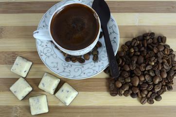 turkish coffee, coffee seeds, chocolate