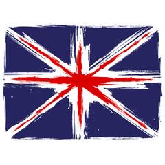 Grunge Union Jack flag over white background