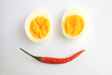 boiled egg and chilli is happy on white background