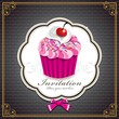 Cute cupcake with vintage design