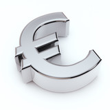 3D Euro symbol isolated on white
