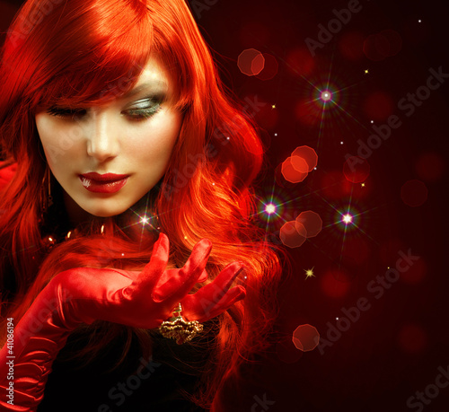 Red Hair. Fashion Girl Portrait. Magic