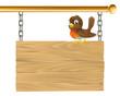 Bird hanging wooden sign