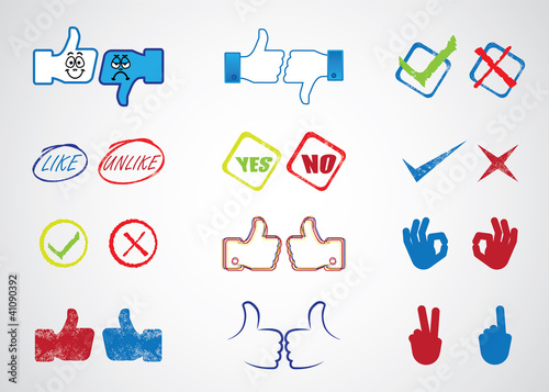 Internet website icons for approval, like,yes & no