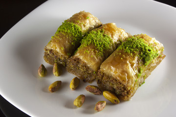 baklava plate with pistachios