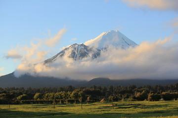 Taranaki (Mt.Egmont) volcano covered with snow, New Zealand