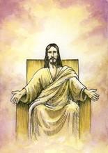 Bóg siedzi z otwartymi ramionami