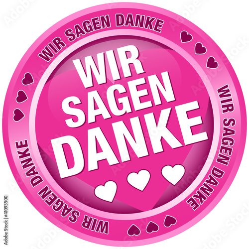 """Button Banner """"Wir sagen danke"""" pink"""