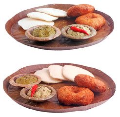 South indian breakfast idli, vada,chutney on white