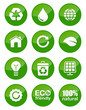 Green icons set - glossy
