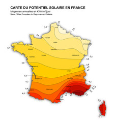 carte des zones de production solaires en france