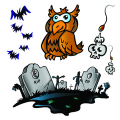 Halloween zombie  icons set